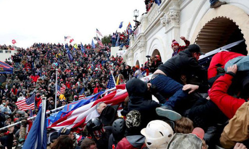 Pro-Trump protesters storm the U.S. Capitol following a rally to contest the certification of the 2020 U.S. presidential election results by the U.S. Congress, in Washington, D.C.